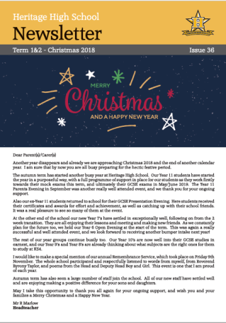 Christmas newsletter 2018